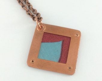 Yoga jewelry, Red blue copper necklace, textile pendant, fabric necklace, riveted fabric pendant, metal fabric necklace,