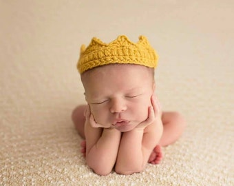 Newborn Crown, Crochet Crown, Baby Crown, Newborn Girl Crown, Newborn Boy Crown, Newborn Photo Prop, Prince, Princess, Pink, Blue
