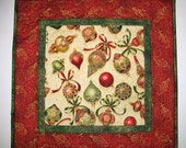 Christmas Table Topper, Ornaments, quilted, fabric  from Kaufman Flourish Line and Hoffman
