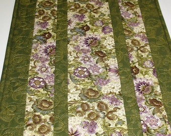 Elegant Table Runner, Floral, purple and green, quilted, fabric from Kaufman Peggy Toole Florentine line