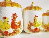 Retro 1978 Sears Roebuck Chicken Canister Set of 3