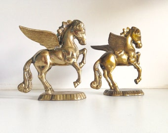 Solid Brass Prancing Pegasus Winged Horse Character Figurines