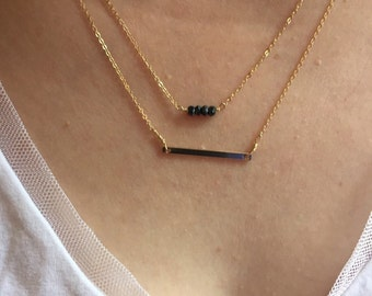 """Bar necklace and mystic spinel necklace. 2 separate necklace with 1"""" extentions."""