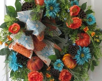 Fall Wreath, Autumn Wreath, Front Door Wreath, Pumpkins, Turquoise & Orange, XL Wreath, Fall Decoration, Grapevine Wreath