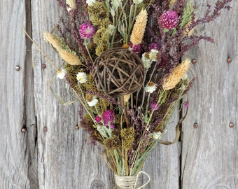 Dried Flower Bouquet Floral Arrangement Large Size Pink Flowers Wildflowers Natural Grasses Pods *Free Lavender Lace Sachet with Order