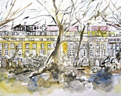 Watercolour Painting  ART Original **Kensington Gardens** A Stunning Architectural Painting  - London By Artist Tracy Butler