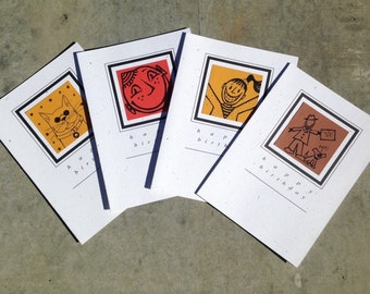 HAPPY BIRTHDAY SET blank greeting card set of 4 cool cat smiley face happy girl guy with his dog