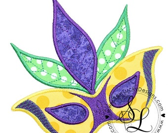 Mardi Gras mask applique design - machine embroidery design- Many formats - INSTANT DOWNLOAD