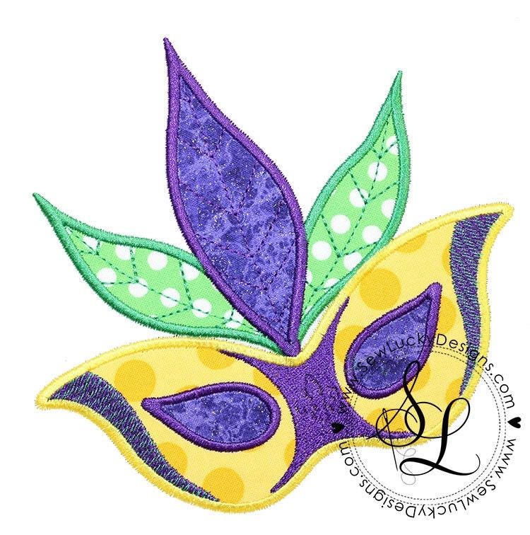 mardi gras mask applique design machine embroidery design. Black Bedroom Furniture Sets. Home Design Ideas