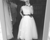 Audrey-lace and tulle wedding dress-Boat neck V back-A line tea length custom wedding dress