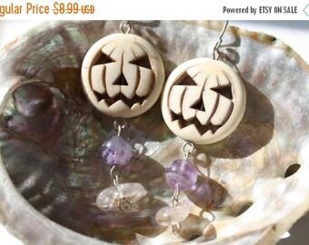 18 Day Sale Halloween Pumpkin Sterling Silver Earrings with Carnelian and Prehnite Gemstones Day of the Dead Dia de Los Muertos White Howlit