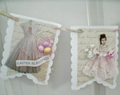 EASTER BLESSINGS banner wall hanging pink dress vintage lady chenille chick sign