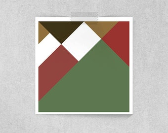 Abstract Geometry: Bureaucratic Brain in Green, Red and Brown // Animation Inspired Hermes Character Portrait
