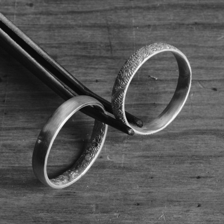 Ehering Set zwei Sterling Silber Trauringe Paare Jugendstil