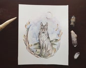 Wolf + Moon + Botanical Painting
