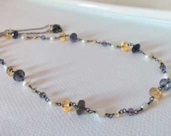 Freshwater Pearl, Water Sapphire, Citrine Natural Gemstone  Handmade Necklace Wire Wrapped with Oxidized Sterling Silver  SALE