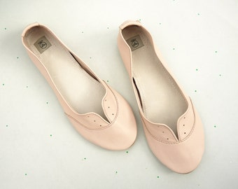 Oxfords Shoes Handmade Ballet Flats in Soft Light Pink Pastel Leather