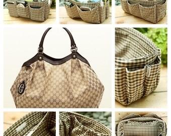 Purse organizer insert multi-pocket for handbag brown plaid Large 25x10 cm