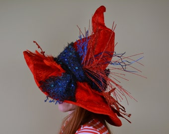 wizard or witch hat- LAUREL - Sapphire and Scarlet Fire Feather Magic - Halloween, costume