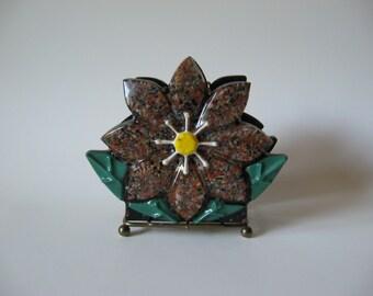 Petrified forest wood crystal craft metal base flower napkin holder serviette caddy 60s 70s retro kitchen original stickers
