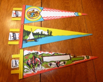 VINTAGE Souvenir Pennant LOT cowboy wild west sailboat lake Small 14.5 x 5