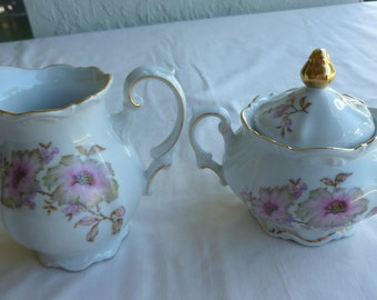 Cream and Sugar Dogwood Pattern #4376 Mitterteich Bavaria China - Made in Germany - Vintage - F