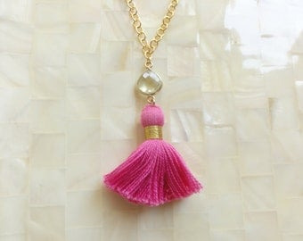 Pink Lemonade Faceted Lemon Quartz Vermeil Bezel Connector and Hot Pink Cotton Tassel on Gold Chain Necklace (N1715)