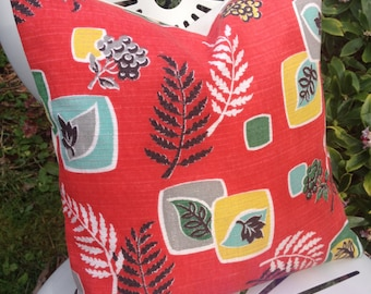 "BOTANICAL 1950s Vintage Leaf Red Fabric 12"" Accent Cushion Pillow"