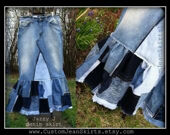 Jazzy J Patchwork maxi denim skirt Custom Order to Your Size 0-2-4-6-8-10-12-14-16-18-20-22-24