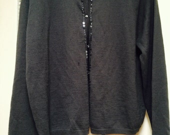 Victoria's Secret cardigan sweater sequin/beads extra-large fine gauge wool/acrylic blend  80s