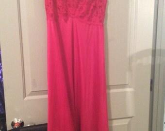 Nightgown long sleeveless lace bodice flared/large size