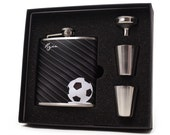 Personalized Soccer Hip Flask // 6oz Flask Gift Set