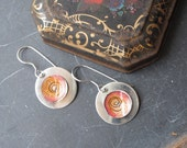 Sterling and Tin Orange Swirl Earrings, Sterling Discs, Sterling Ear Wires, 10th Anniversary Gift