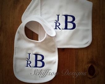 Boy's Monogram Bib and Burp Cloth Set