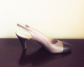 Ferragamo Sling Back Shoes, Vintage, Womens Leather Pumps, Brown Two Tone High Heel Shoes, Womens Size 6.5, 6 1/2, 6 and half Narrow AAA