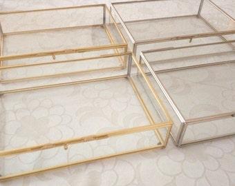 Made To Order: 1 pc Glass Brass Box Gold Finish Terrarium, Wedding, Photo, Decor