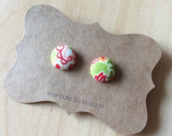 Covered Button Earrings - Bonnie and Camille - green, red, orange paisley