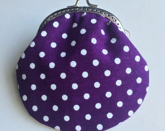 Handmade Coin Purse - Purple dots dots