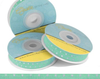 Mint with Metallic Silver Dots - Fold Over Elastic - 5 YARDS