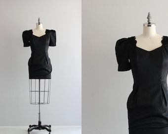 80s Puff Sleeve Dress . Vintage Mini Dress . Black Satin Dress