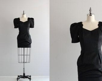 SALE . 80s Puff Sleeve Dress . Vintage Mini Dress . Black Satin Dress