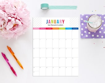 Monthly Calendar 2016 Portrait Design Editable INSTANT DOWNLOAD Calendar by 505 Design Inc