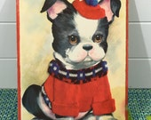 "Vintage 1960's French Bull Dog Print Wall Art by Coby 7 1/2"" x 9 1/2"" on Pressed board- bull dog, art by Coby, dog wall print, 1960s decor"