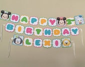 Tsum Tsum MICKEY & FRIENDS Birthday Party Banner 1st 2nd