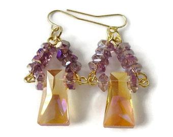 Crystal Statement Earrings, Gold And Purple, Crystal Dangle Earrings, Glamorous Drop Earrings, Elegant Statement Earrings