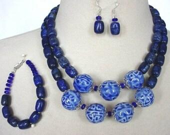 Royal Blue Gemstone Statement Necklace, Double Strand Blue Lapis Necklace, Big Bold Chunky Necklace, 3 Piece Necklace Set, Navy Blue