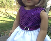 18 Inch Doll Clothes Fuscia and White Special Occasion Dress for dolls like American Girl, girls gifts, sparkly dress