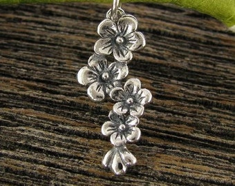 Sterling Silver Flower Charm - Cascading Cherry Blossoms - Beautiful Flower Pendant or Earwire Dangle - C196