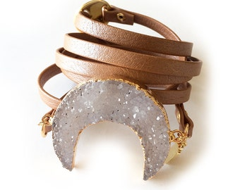 Drury Moon Leather Wrap - Rose Gold