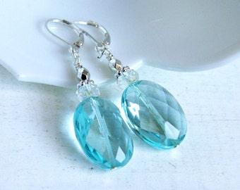 aqua drop earrings, beaded earrings, dangle, glass jewelry,